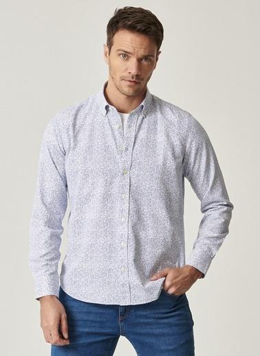 Altınyıldız Classics Tailored Slim Fit Dar Kesim Düğmeli Yaka Baskılı Gömlek 4A2021100133 Beyaz
